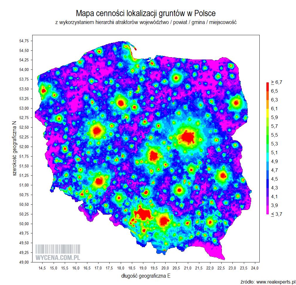 Mapa cenności lokalizacji gruntów w Polsce