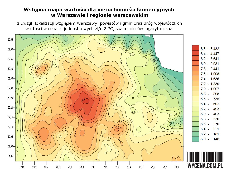 Nowsza wersja mapy wartości lokalizacji nieruchomości komercyjnych zabudowanych w Warszawie i regionie warszawskim
