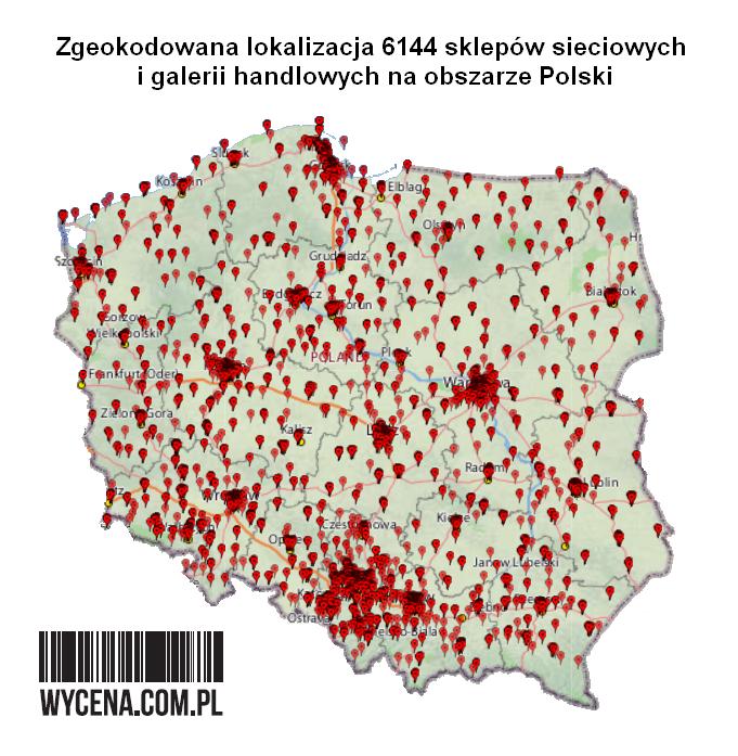Zgeokodowana lokalizacja 6144 sklepów sieciowych i galerii handlowych na obszarze Polski