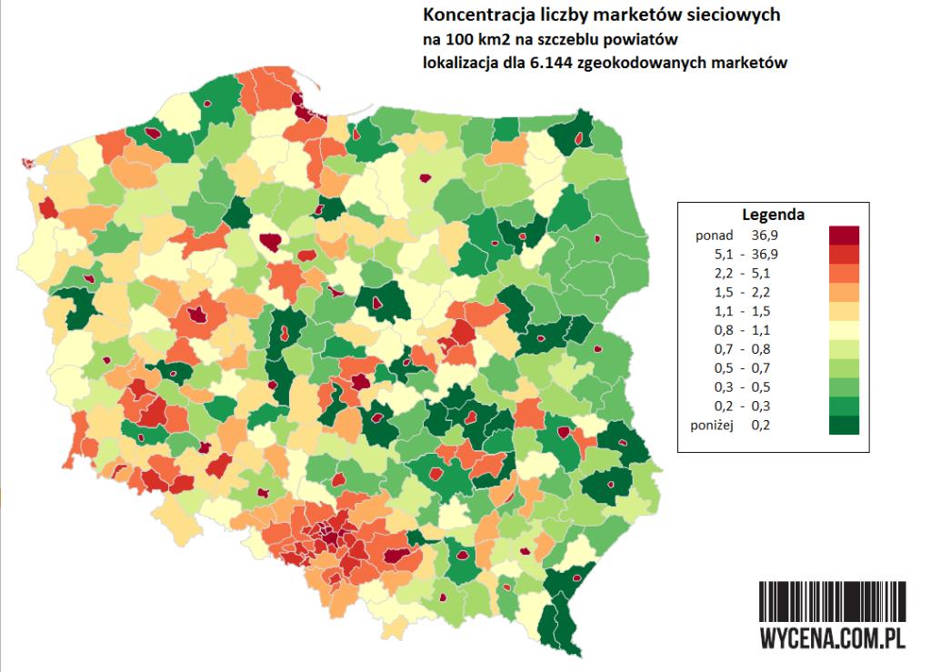 Koncentracja liczby marketów sieciowych na 100 km2 na szczeblu powiatów
