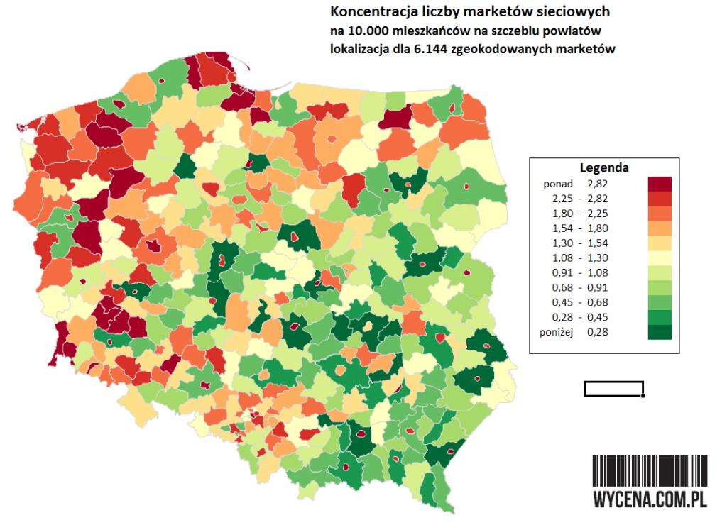 Koncentracja liczby marketów sieciowych na 10.000 mieszkańców na szczeblu powiatów