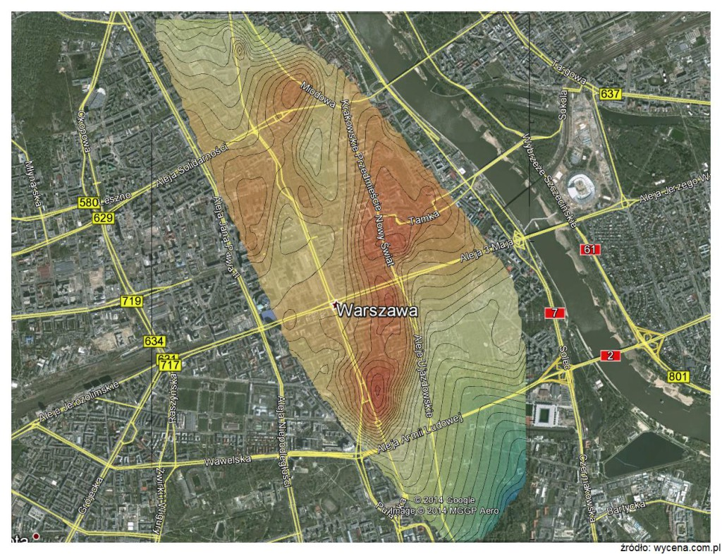 Mapa cenności Warszawa LU