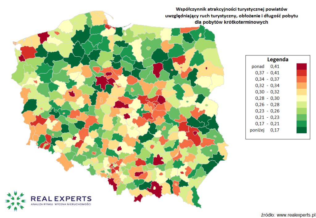 Współczynnik atrakcyjności turystycznej powiatów uwzględniający ruch turystyczny i obłożenie dla pobytów krótkoterminowych