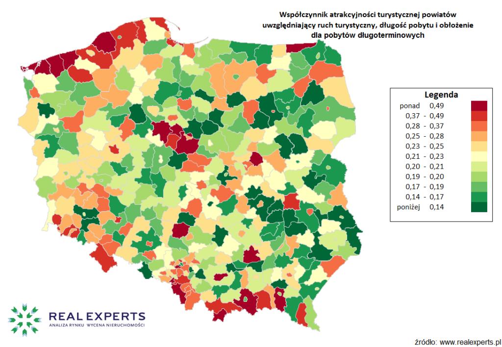 Współczynnik atrakcyjności turystycznej powiatów uwzględniający ruch turystyczny, długość pobytu i obłożenie dla pobytów długoterminowych