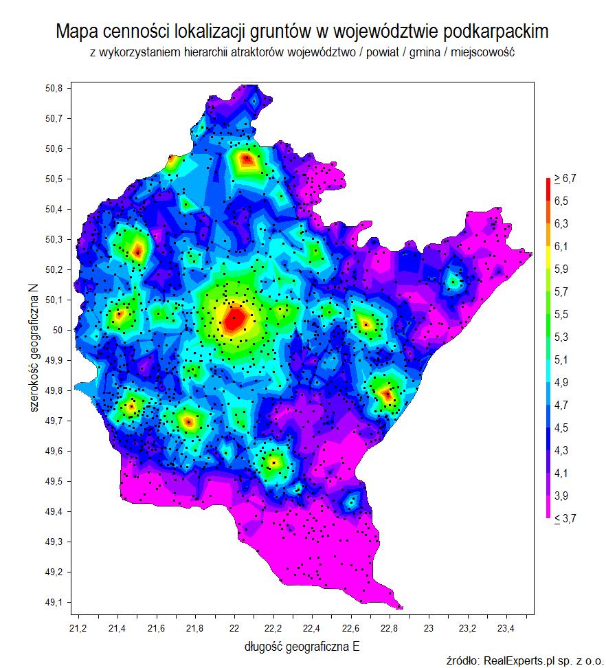 Mapa cenności lokalizacji gruntów w województwie podkarpackim