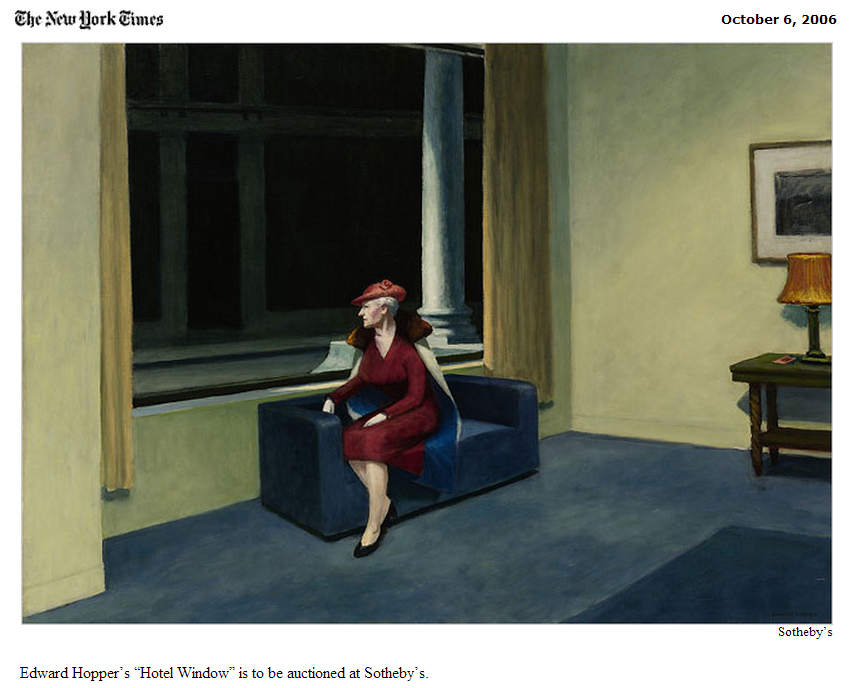 "The New York Times - Edward Hopper's ""Hotel Window"" is to be auctioned at Sotheby's"