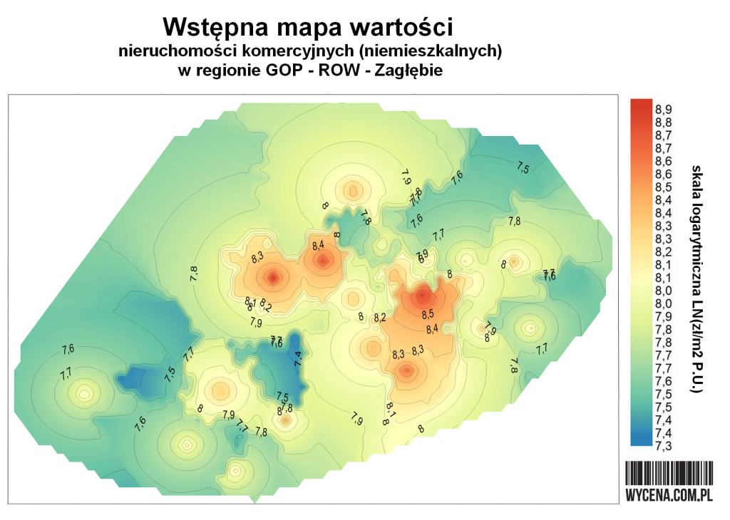 Wstępna mapa wartości nieruchomości komercyjnych (niemieszkalnych) w regionie GOP-ROW-Zagłębie