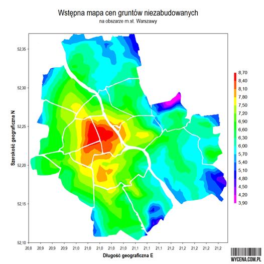 Wstępna mapa cen gruntów niezabudowanych