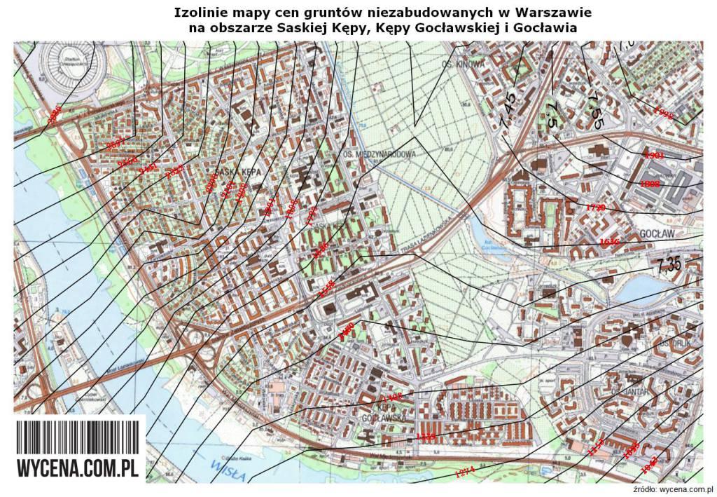 Izolinie mapy cen gruntów niezabudowanych w Warszawie na obszarze Saskiej Kepy, Kepy Gocławskiej i Gocławia