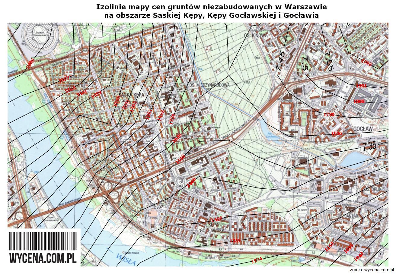 448cb424fe1fa8 Izolinie mapy cen gruntów niezabudowanych w Warszawie na obszarze Saskiej  Kepy, Kepy Gocławskiej i Gocławia