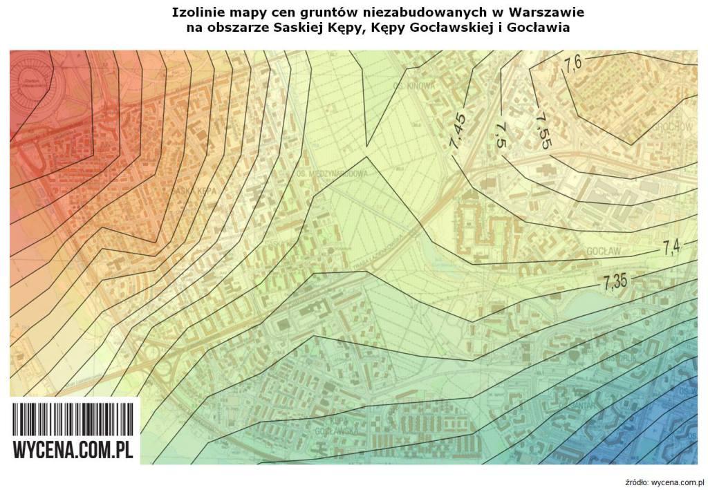 Izolinie mapy cen gruntów niezabudowanych w Warszawie na obszarze Saskiej Kępy, Kępy Gocławskiej i Gocławia.
