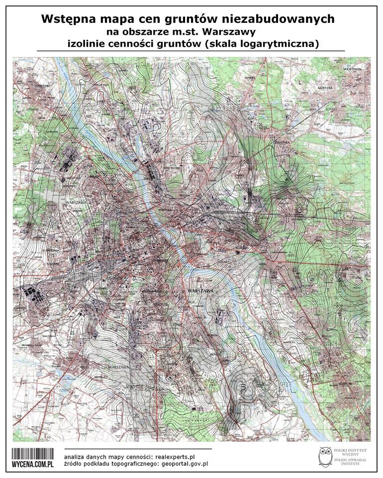 Wstępna mapa cen gruntów niezabudowanych na obszarze m.st. Warszawy - izolinie cenności gruntów (skala logarytmiczna)