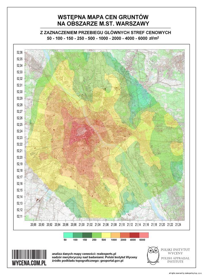 Wstępna mapa cen gruntów na obszarze m.st. Warszawy z zaznaczeniem przebiegu głównych stref cenowych