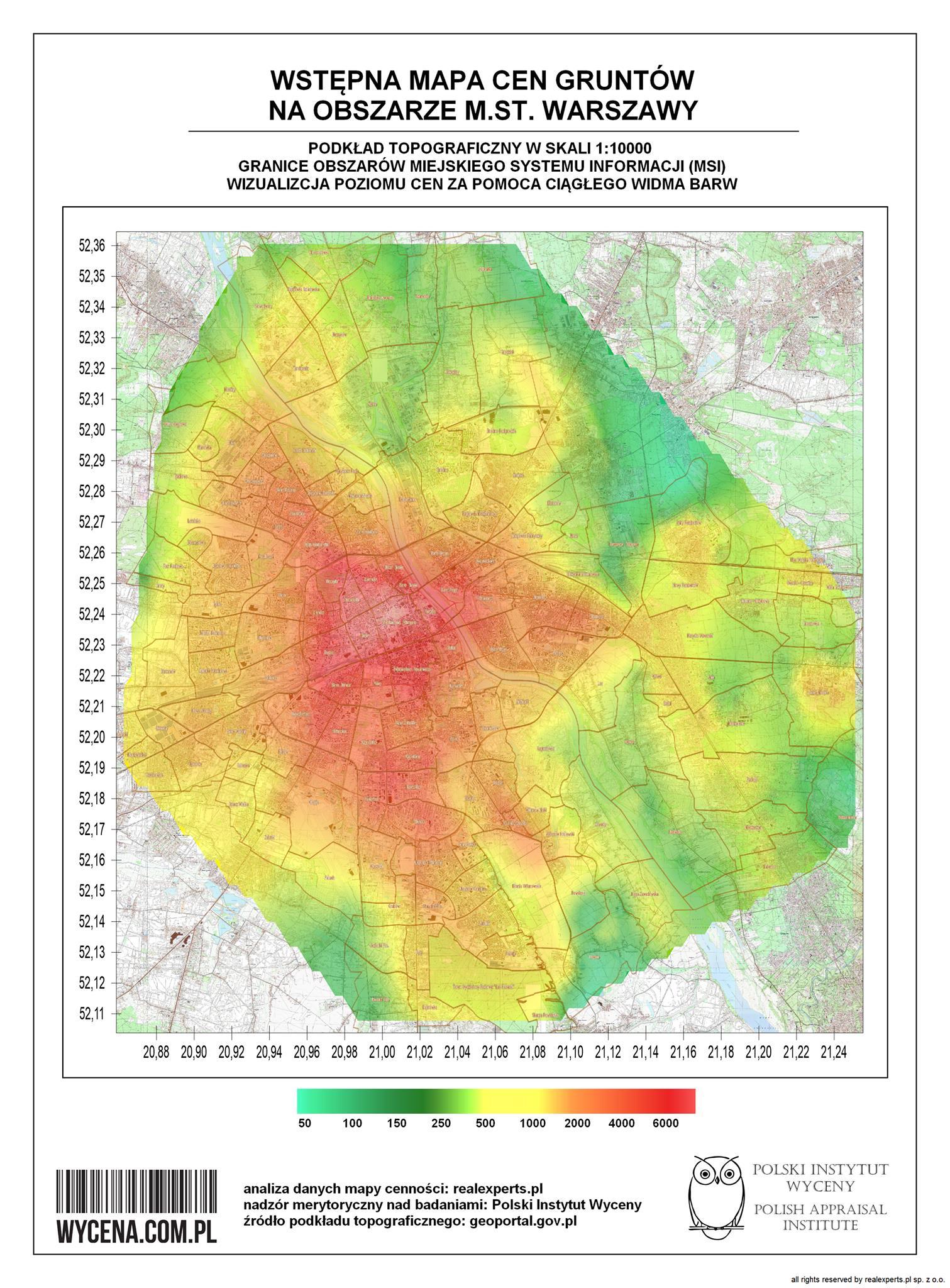 6efc077bd1e746 Najnowsza wizualizacja mapy cen gruntów w Warszawie. Obszary MSI i ...