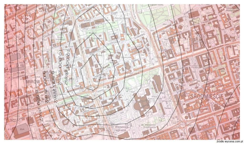 Mapa cen gruntów w Warszawie na potrzeby wyceny nieruchomości