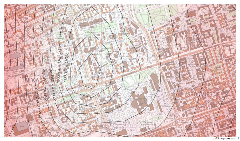 0c0bca5761305b Mapa cen gruntów w Warszawie na potrzeby wyceny nieruchomości