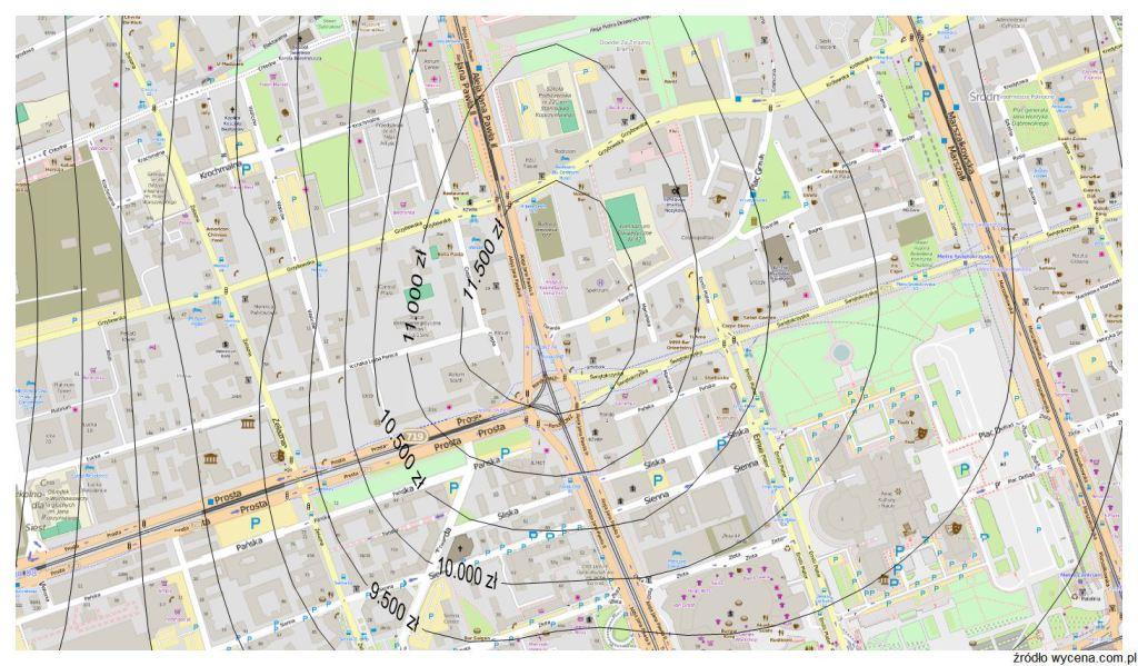Mapa cen gruntów dla Warszawy na potrzeby wyceny nieruchomości
