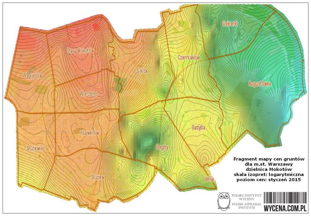 Fragment mapy cen gruntów dla m.st. Warszawy, dzielnica Mokotów, skala izopret: logarytmiczna, poziom cen: styczeń 2015 r.