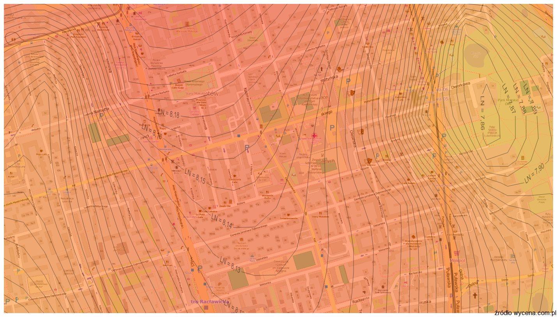 56c039418d6f04 Fragment mapy cen gruntów dla m.st. Warszawy, dzielnica Mokotów, skala  izopret