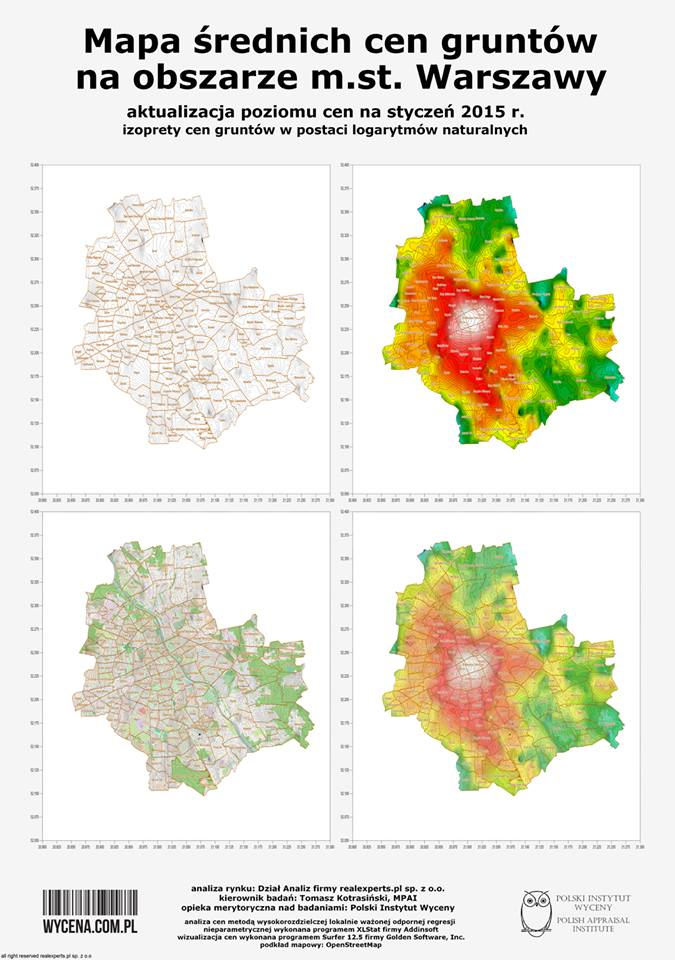 Mapa średnich cen gruntów na obszarze m.st. Warszawy