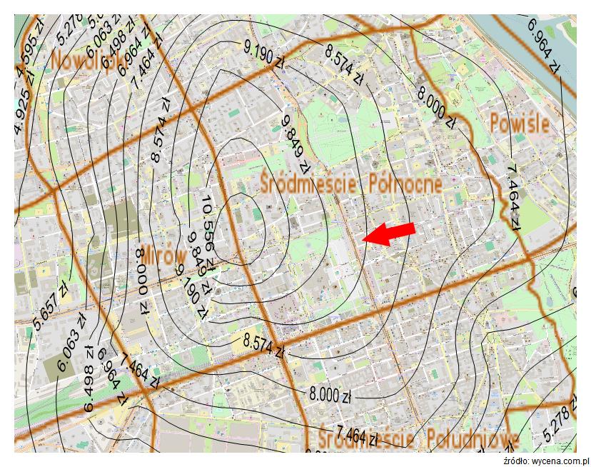Mapa średnich cen gruntów na obszarze m.st. Warszawy - aktualizacja poziomu cen na styczeń 2015 r. Izoprety ceny gruntów.