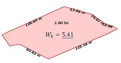 Współczynnik kształtu dla figury nieregularnej - 5,41