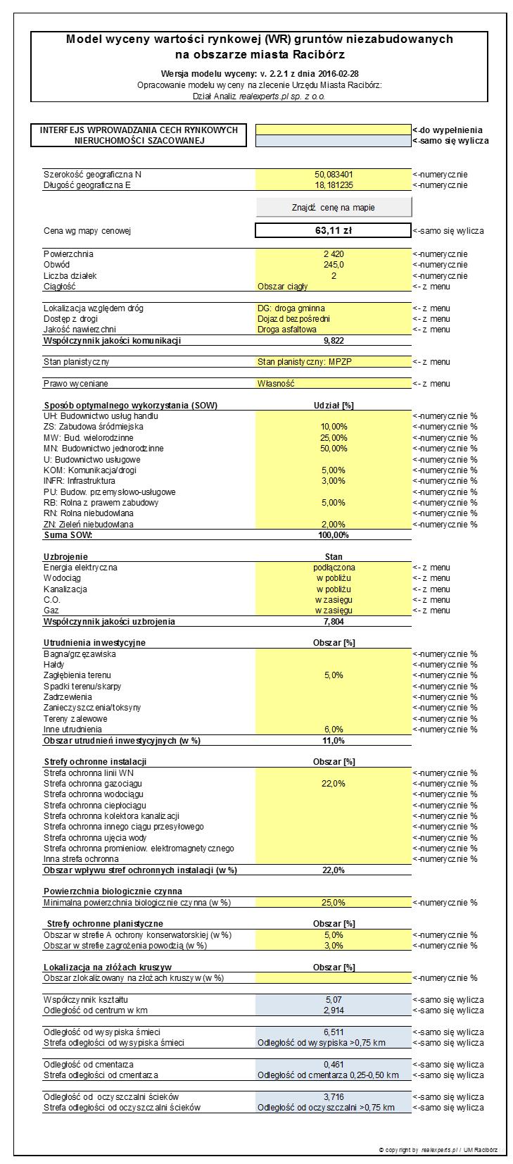 Interfejs wprowadzania danych - cech rynkowych nieruchomości szacowanej dla modelu wyceny gruntów w Raciborzu.