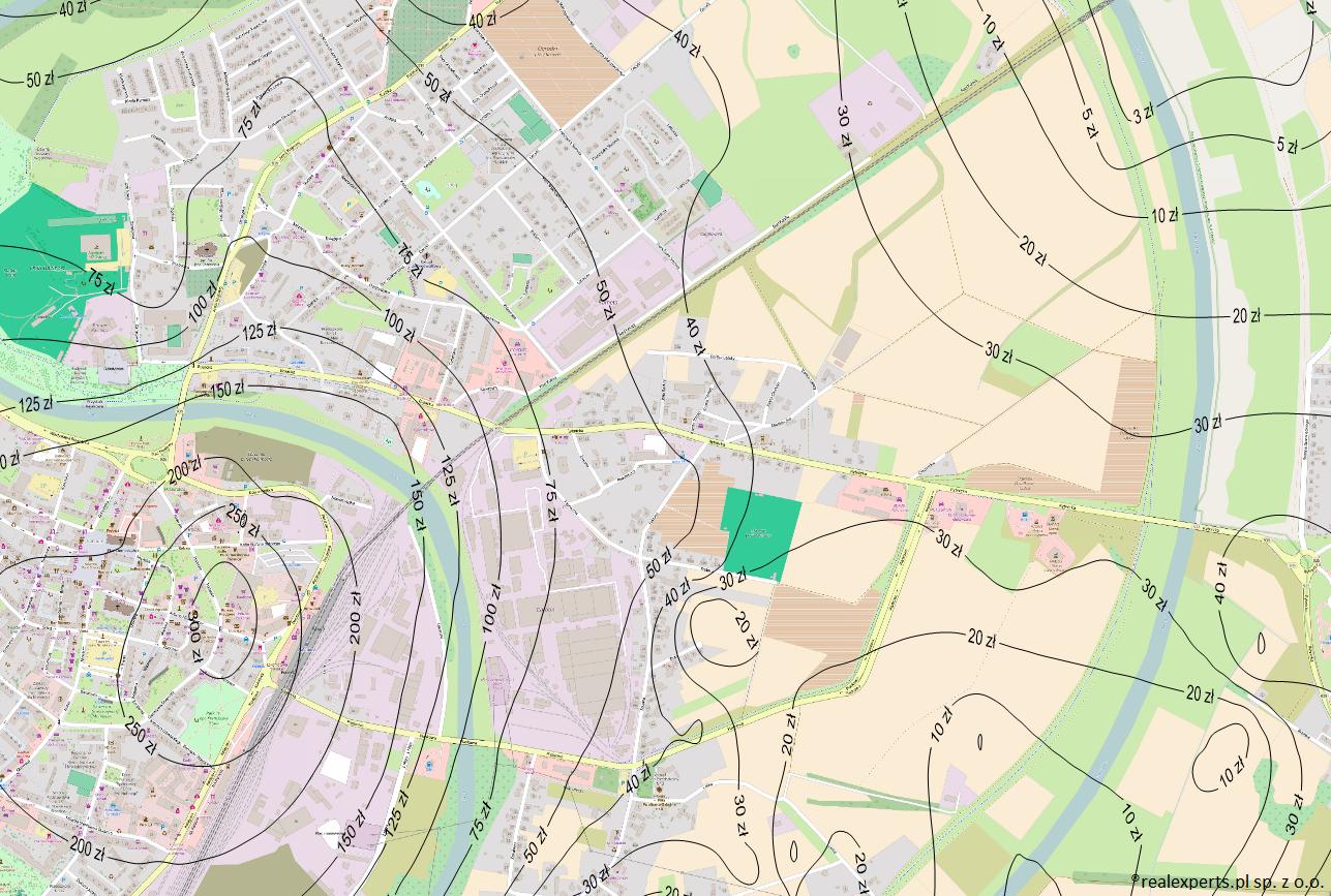 Fragment mapy średnich cen gruntów niezabudowanych na obszarze rynku lokalnego miasta Racibórz opracowany na zamówienie gminy Racibórz.
