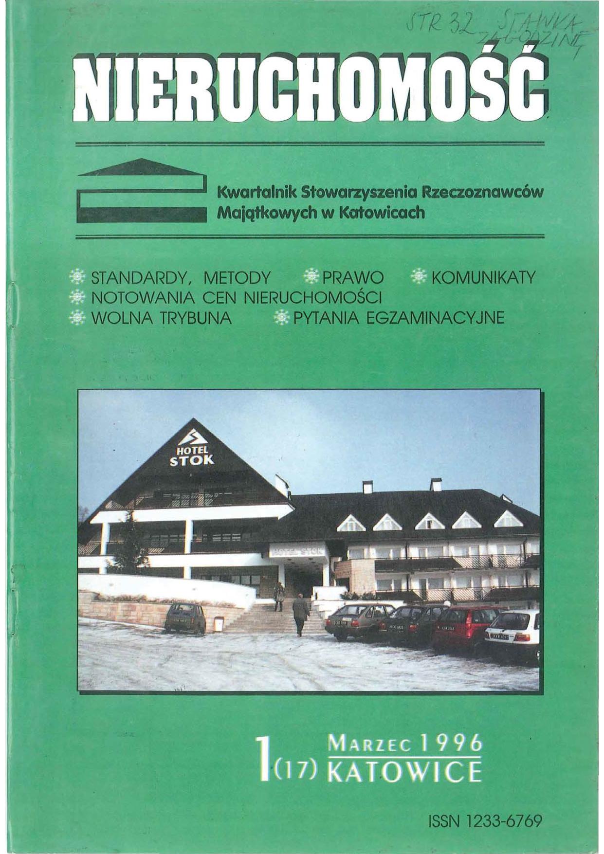 Nieruchomość kwartalnik 1(17) 1996 marzec